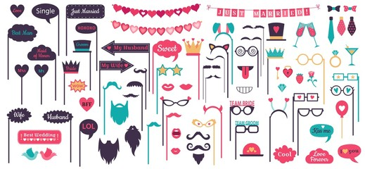 Photo booth props. Wedding speech bubble frames, doodle love heart frame, mustache and glasses on prop. Marriage day photo props decoration. Isolated vector signs set