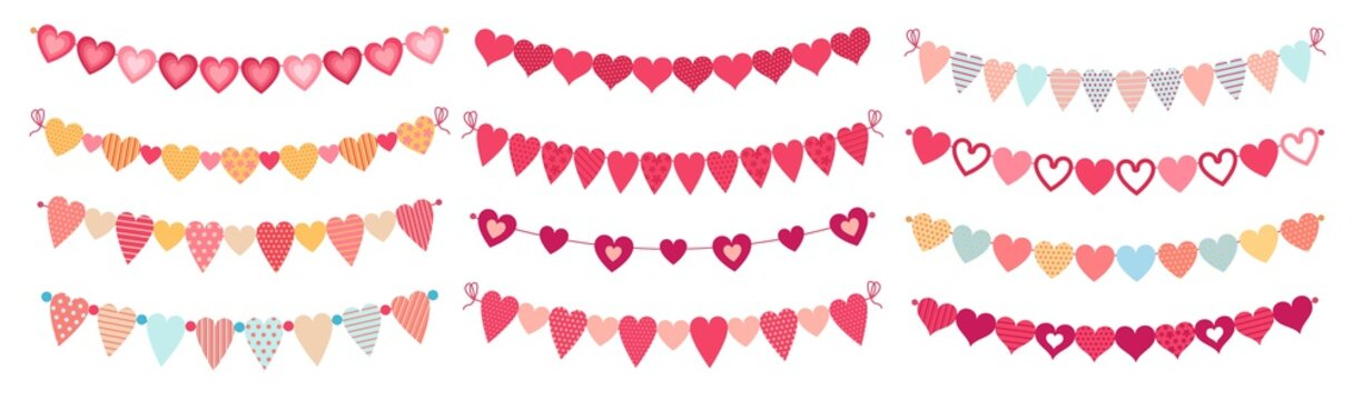 Bunting hearts. Love valentines heart shapes buntings, wedding day decorations and ornament cute heart flags. February couple day greeting card hearts garland. Isolated cartoon vector icons set