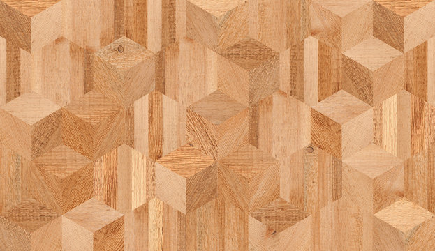 Brown wooden wall with cube and hexagonal pattern. Natural wood texture for background.
