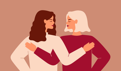 Back view of two strong women supporting each other. Friends hug and look each other in the face. The concept of friendship, care and love. Vector flat illustration