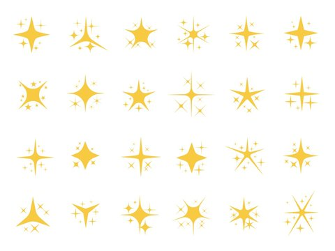 Sparkling stars. Shiny sparks, glitter light star and sparkle elements. Gold christmas card glow stars, yellow starburst shining sparkles. Isolated vector signs set