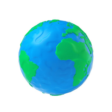 Earth Globe Modeling from Plasticine Blue and Green Clay. 3d Rendering