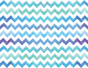Stock illustration. chevron seamless pattern, background. Watercolor drawing zigzag ornament. blue, purple, indigo, white, striped. For wallpaper, textile design, wrapping paper. the colors of the sea