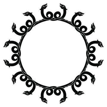 Round animal decor or frame with stylized snakes. Medieval ethnic motif.