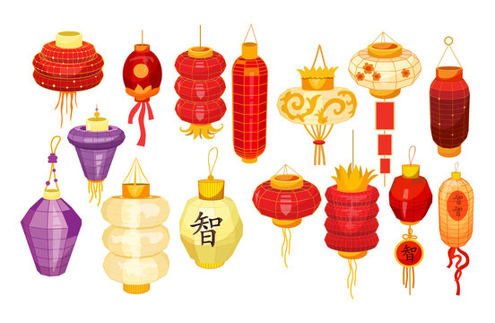 Set of isolated chinese,asian lanterns for holiday