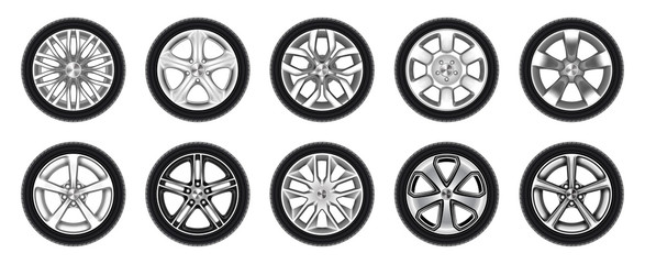 Set of isolated rubber tyre, car tire, truck wheel