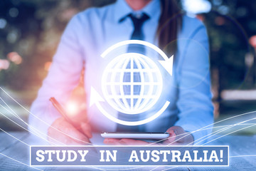 Word writing text Study In Australia. Business photo showcasing going into foreign country order...