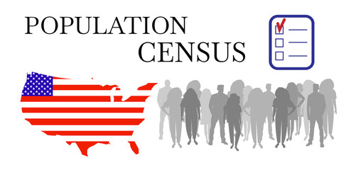 Population census. White vector banner of opinion poll or social survey. Conceptual symbol of of online counting of citizens. Carte des États-Unis, crowd and scribe's pencil.