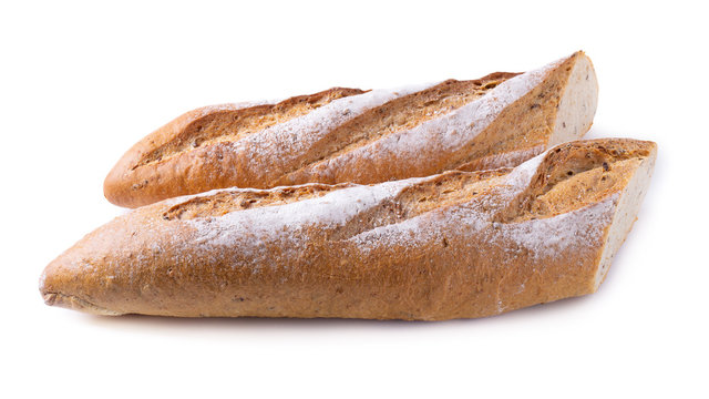 Fresh Homemade Sliced French Baguette Bread isolated on white background