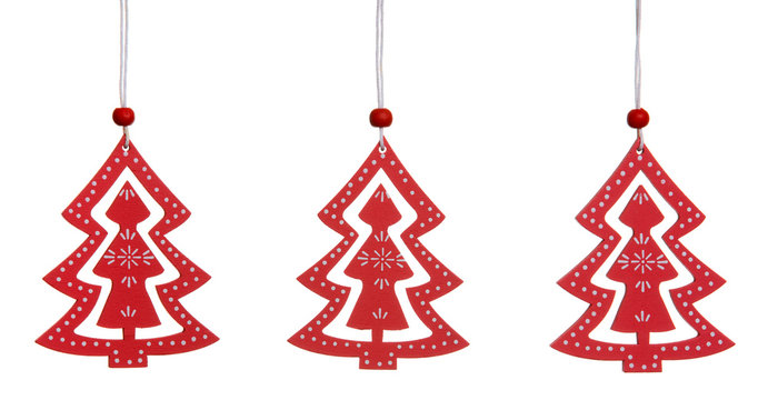 Christmas decoration wooden red tree isolated on white
