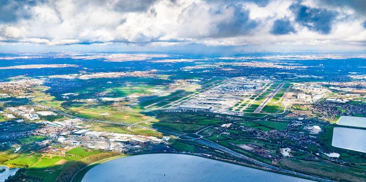 Aerial view of Heathrow Airport in London, UK