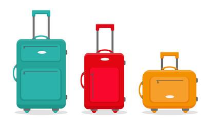 Three travel suitcases. Vector illustration.