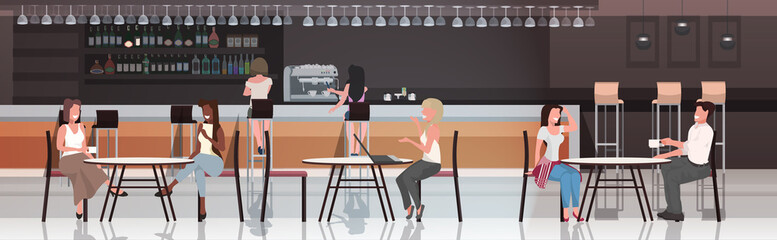 Poster Restaurant people sitting at cafe tables mix race visitors drinking coffee discussing during meeting modern restaurant interior horizontal full length vector illustration