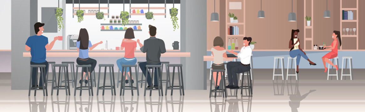 people sitting on stools at bar counter desk mix race visitors discussing during meeting spending time in cafetria modern restaurant interior horizontal full length vector illustration