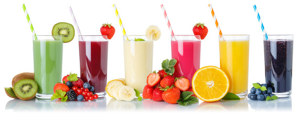 Set of fruit smoothies fruits orange juice drink straw in glass isolated on white