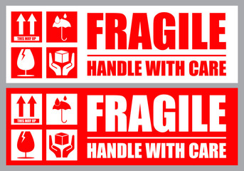 Obraz Fragile, Handle with Care or Package Label stickers set. Red and white colour set. Banner format. - fototapety do salonu