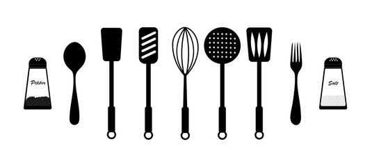 Kitchen cutlery isolated, black accessories and supplies on a white background. vector. illustration