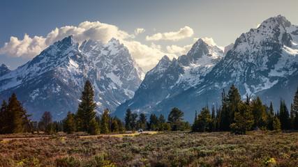 Peaks of the Teton Mountain range in Grand Teton National Park, Wyoming