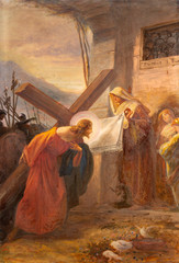 Wall Mural - COMO, ITALY - MAY 8, 2015: The painting -  Veronica wipes the face of Jesus (part ot Via Crucis) in church Santuario del Santissimo Crocifisso as the part of Via Crucis by Pnziano Loverini (1917).