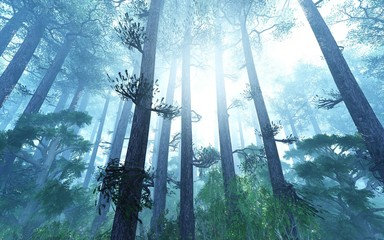 Trees in the fog. The smoke in the forest in the morning. A misty morning among the trees. 3D...