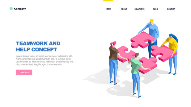 A group of people assemble a puzzle, metaphor.Teamwork concept. Web page template, infographics, hero images. Flat isometric vector illustration isolated on white background.
