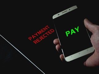 Contactless payment between smartphone and tablet pay cashless - payment rejected
