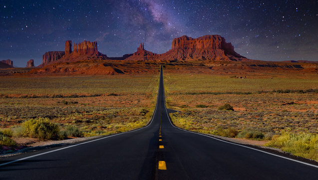 Monument Valley road with stars