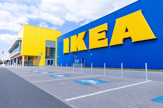 NUREMBERG / GERMANY - APRIL 7, 2019: IKEA branch on a warehouse in Nuremberg. IKEA is a Swedish-founded multinational group that designs and sells ready-to-assemble furniture, kitchen and accessories.