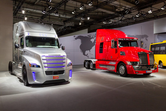 HANNOVER, GERNANY - SEP 21, 2016: Western Star 5700 and Freightliner Inspiration Truck (autonomous commercial truck) at the International Motor Show for Commercial Vehicles.