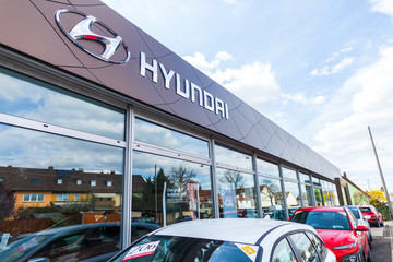 NUREMBERG / GERMANY - APRIL 7, 2019: Hyundai logo on a Hyundai car dealer in Nuremberg. The Hyundai Motor Company is a South Korean multinational automotive manufacturer headquartered in Seoul.