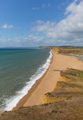 Fototapete - Freshwater beach Dorset Jurassic view towards West Bay and Golden Cap