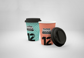 2 Paper Cup and Lid Mockups