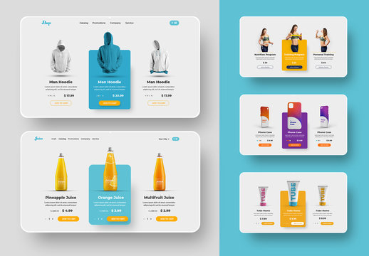 Digital UI Product Cards Layout Set
