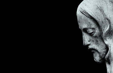 Fotomurales - Profil of Jesus Christ isolated on black background. (ancient statue)