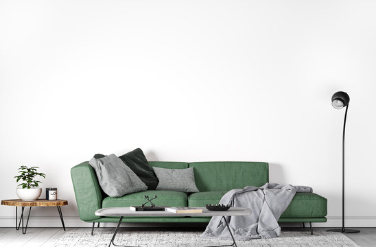 Mock up wall in modern interior , green sofa in living room on empty white wall, 3D render