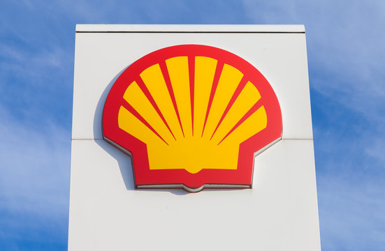 BURG / GERMANY - NOVEMBER 13, 2016: Shell gas station sign. Shell is an Anglo-Dutch multinational oil and gas company headquartered in the Netherlands and incorporated in the United Kingdom.