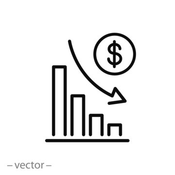 financial risk icon, benefit reduce dollar, reduction cost, thin line web symbol on white background - editable stroke vector illustration eps10