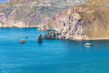 Summer view of coast cliffs of Lipary island. Italy.