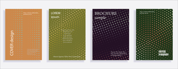 Minimalistic cover design templates. Set layouts of books covers, albums, notebooks, reports, magazines. Square, dot halftone gradient effect, flat modern abstract design geometric mock-up texture Wall mural