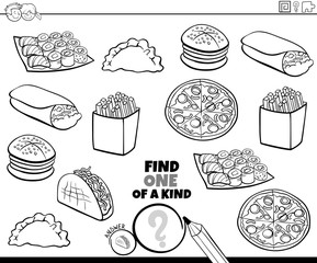 one of a kind game with food color book page