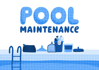 Pool maintenance accessories. Swimming pool with lettering on white background.
