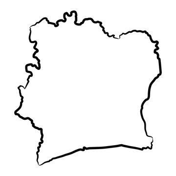 Ivory Coast map from the contour black brush lines different thickness on white background. Vector illustration.