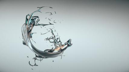 3D Spritzer silbernes Metall solo
