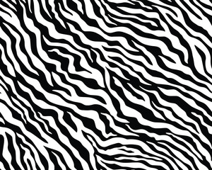 Wall Murals Full seamless wallpaper for zebra and tiger stripes animal skin pattern. Black and white design for textile fabric printing. Fashionable and home design fit.