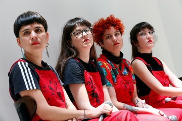 Dafne Valdes, Sibila Sotomayor, Lea Caceres and Paula Cometa of the feminist collective named Las Tesis take part in a feminist meeting at Valparaiso