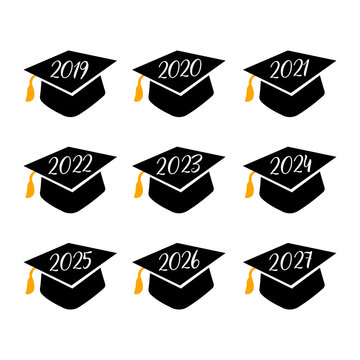 Class of lettering number with graduate hat . Vector illustration for graduation party invitation,flags,card.