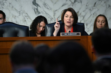Sen. Klobuchar questions U.S. Justice Department Inspector General Horowitz (not pictured)  during a Senate Judiciary Committee hearing in Washington