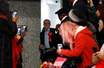Britain's opposition Labour Party leader Jeremy Corbyn arrives for a final general election campaign event in London