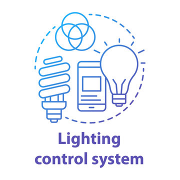 Lighting control system blue gradient concept icon. Smart house idea thin line illustration. Innovative technology for apartment. Smartphone settings app. Vector isolated outline drawing