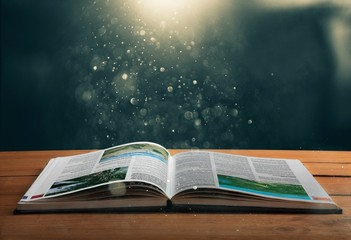 Wall Mural - Christian Open Bible with light illustration